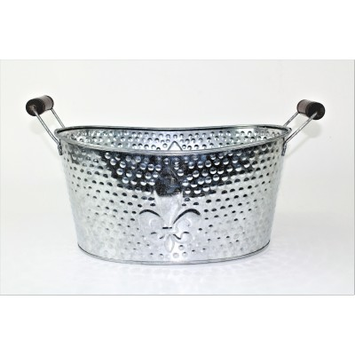 1086-SILVER SMALL FDL HAMMERED SILVER TUB